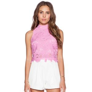 J.O.A Lace Crop Top Pink